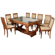 french art deco walnut dining set with eight chairs 1 art deco dining set