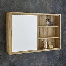 sliding bathroom mirror: clickbasin solid oak cm wide wall mounted sliding bathroom mirror cabinet by clickbasin