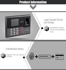 Realand A C121 Biometric Fingerprint Time Attendance Clock Black ...