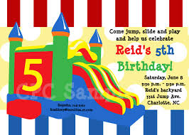 bounce castle birthday party invitations printable or bounce castle birthday party invitations printable or printed 128270zoom