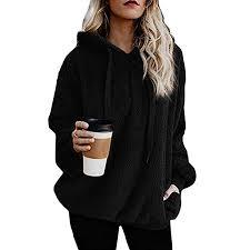 Weardear Women <b>Fashion</b> Fluffy <b>Fleece Hoodies</b>, Solid Long ...
