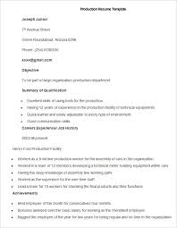 sample production resume template factory resume examples