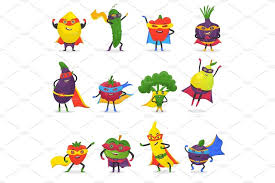Superhero fruits vector fruity <b>cartoon</b> character of super hero ...