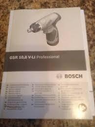 <b>Gsr</b> 10.8 V-li <b>Professional Bosch</b> Screwdriver Manual free postage ...