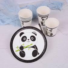 <b>10Pcs</b> Panda Theme Paper Plates <b>Disposable</b> Paper Cups <b>Kids</b> ...