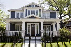classic blue and white houston craftsman exterior color scheme american craftsman style