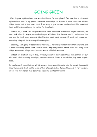 opinion essay  going greenloreto padrón Ávila going greenwhat is your opinion about how we