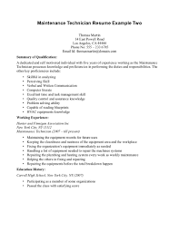 impressive resume template for general maintenance technician job impressive resume template for general maintenance technician job summary of qualifications and working experience