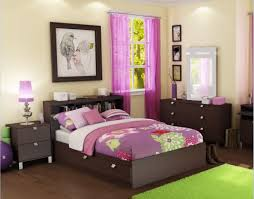 pictures simple bedroom: cool headboard bookcase plus long purple curtain idea feat green rug on fancy girl bedroom design