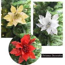Home, Furniture & DIY <b>5PCS Glitter Artificial Flowers</b> Christmas Tree ...