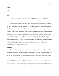 the yellow wallpaper and advice to young ladies literature essay  the yellow wallpaper and advice to young ladies essay example