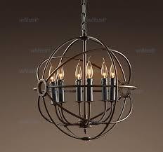 rh industrial lighting restoration hardware vintage pendant lamp foucault iron orb chandelier rustic iron gyro loft light 50cm 65cm cheap rustic lighting