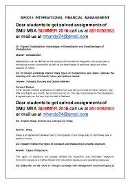 mf international financial management th sem mba summer