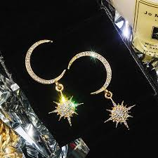 2018 <b>New Fashion Korea</b> 925 sterling Acrylic silver Moon Star ...