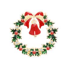 2019 New Trend <b>Brooch Pin</b> Green Garland Bell <b>Christmas Theme</b> ...