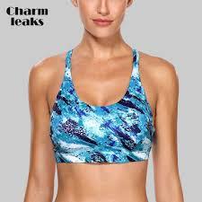 Charmleaks <b>Women</b> Sports Bra <b>Light Impact</b> Floral Print Backcross ...
