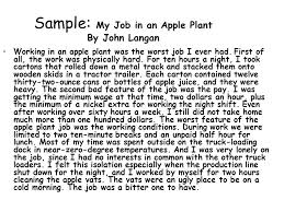 writing personal essays  what is an essay  an essay is a    sample  my job in an apple plant by john langan working in an apple plant