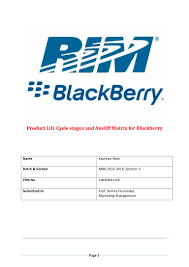 blackberry product life cycle ansoff matrix