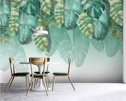 <b>Beibehang Custom Wallpaper</b> 3d Mural Photo Green Gradient Leaf ...