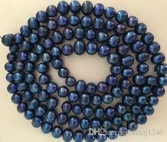 Impresionante 10-11mmtahitian Negro Azul barroco perla collar de ...