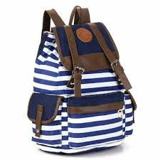 <b>Women</b> Travel Student Bag Casual Blue Backpack <b>Canvas</b> Hiking ...