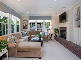 ashley furniture sectional sofas family room traditional with brick fireplace surround built built furniture living room