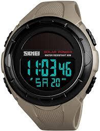<b>SKMEI</b> Men's Solar Digital Sports Watch, 50M Waterproof <b>Military</b>