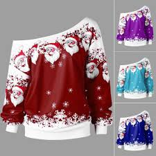 Fashion Women Merry <b>Christmas Santa</b> Claus <b>Print</b> Skew Collar ...