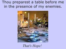 Image result for prepares a table before my enemies