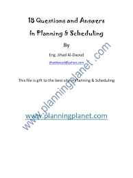 questions and answers in planning scheduling project management