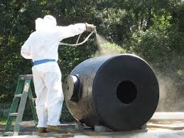 this time the foe is corrosion research and creative discovery a contractor applies a polyurethane topcoat to a 13 inch seacoast mortar tube photo courtesy of the lasch center