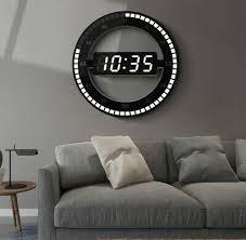 High Tech Modern <b>3D LED Digital</b> Wall Clock <b>Electronic</b> Night Glow ...