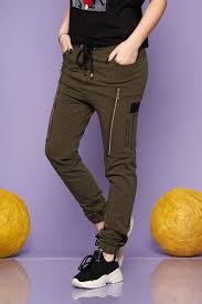 Khaki trousers casual long cotton <b>high</b> waisted with <b>elastic waist</b> ...