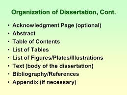 Organization of Dissertation Cont Acknowledgment Page optional Abstract Table of Contents     FAMU Online