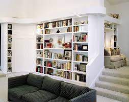 custom white stained wooden tall narrow bookcase for home library with lighting with modern furniture bookcase bookcase lighting ideas