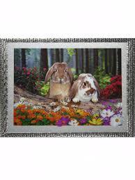Картина 5D <b>Зайчата</b> в лесу (без рамки) 38*28см Бисер опт ...