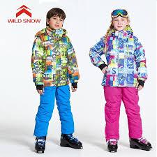 2019 <b>WILD SNOW</b> Warm Kids Ski Suit <b>Boys Girls</b> Ski Jacket Pants ...