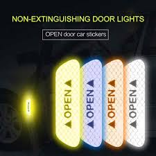 <b>4Pcs Car OPEN</b> Reflective Tape Reflective Strips Waterproof Auto ...