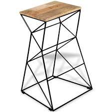 With Geometric Design Kitchen <b>Bar Stool Solid Mango</b> Wood ...