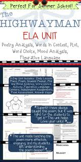 best ideas about poem analysis poetry lessons this five day unit is a close reading of the highwayman by alfred noyes it is designed to help students analyze what the poem says explicitly as well as