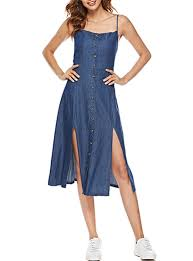 <b>Women's Denim Summer</b> Dress - Spaghetti <b>Straps</b> / Front Buttons ...