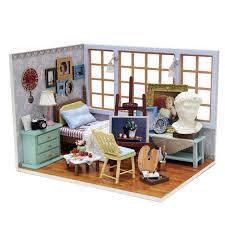 handmade doll house furniture miniatura diy doll houses miniature dollhouse wooden toys for children birthday gift building doll furniture