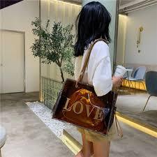 Large Handbag Transparent Clear Jelly Bag For Women Letter Tote ...