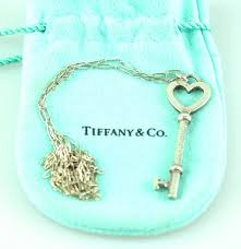 Tiffany & Co Large Sterling <b>Silver</b> Key Pendant On <b>Vintage</b> Tiffany <b>Link</b>
