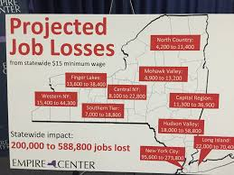 report minimum wage could cost jobs north country albany a proposed 15 an hour statewide minimum wage could cost new york state at least 200 000 jobs according to a report released by the empire center