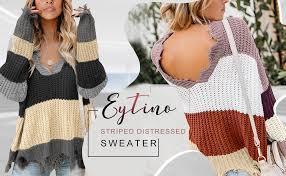 Eytino <b>Women V</b>-<b>Neck</b> Long Sleeve Loose Ripped Pullover Knit ...