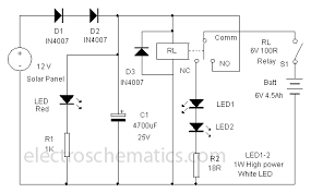 solar powered led lamp circuit