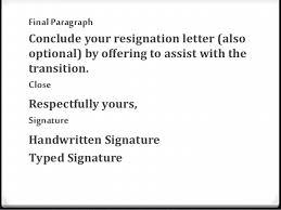 resignation letter  powerpoint close respectfully yours  signature handwritten signature typed signature