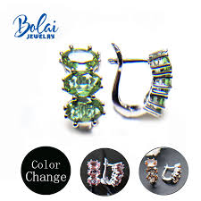 Bolai,Color change Diaspore Claps earrings <b>zultanite</b> created ...