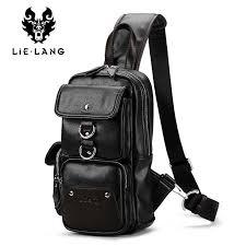 <b>LIELANG</b> Men <b>Chest Bag Pack Leather</b> Male <b>Shoulder</b> Crossbody ...